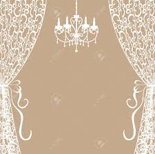 Vintage Card With Chandelier And Curtains Royalty Free Cliparts