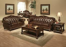 Brown Leather Sofa Living Room Ideas by Wood And Leather Furniture Descargas Mundiales Com