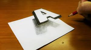 Very Easy How To Drawing 3D Floating Letter A