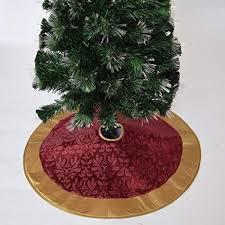 Gireshome 36quot Luxurious Burgundy Jacquard Christmas Tree Skirt With Gold Faux Silk Border XMAS