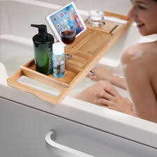 Bamboo Bathtub Caddy With Wine Glass Holder by Bamboo Bath Bathtub Caddies Storage Equipment Ebay