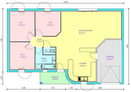 plan maison plain pied 3 chambres en l plan de maison plein pied gratuit 3 chambres plan maison