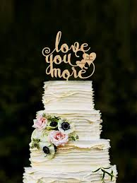 Love You More Cake Topper With Hearts Wedding
