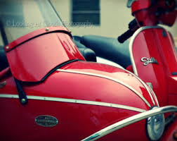 Red Stella With Sidecar Art Photo Vespa Scooter Italian Urban Photography