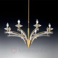 lustre icaro avec verre cristal à 8 les doré