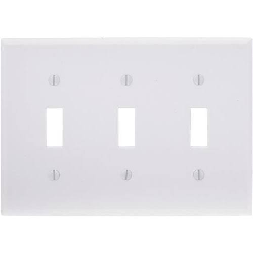 "Leviton 3-Gang Toggle Wall Plate - White, 4.5""x7.75""x0.25"""