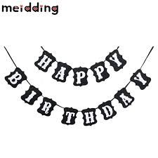 MEIDDING 1set Cool Black Happy Birthday Banner Birthday Party Bunting Decor Home Hanging Garlands Pastel Flags