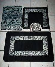 Cheetah Bathroom Rug Set by 18pc Black Kadir Set Bathroom Shower Curtain W Rings Contour Bath