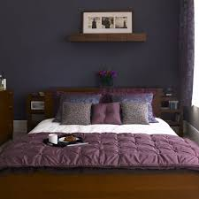 Bedroom Dark Brown Wooden Bedside Table Black Fabric Single Seater Sofa Purple Bed Frame Light