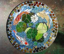 Make Outdoor End Table by Mosaic Table Koi Fish Art Stained Glass Mosaic Art