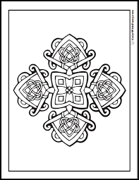 Coloring Pages Celtic Cross Ornate Flower And Square Design