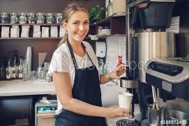 Young Caucasian Barista Hands Holding Paper Cup Making Coffee Using Machine Woman Pouring