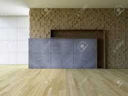 3ds gerendert bild leeren wohnzimmer die hölzerne kubische muster wie wand holzboden und gebrochen beton dekorative wand haben