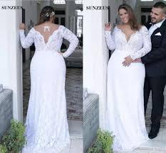 Modest Plus Size Sheath Wedding Dresses Full Lace Long Sleeves Deep