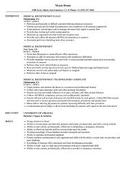 Medical Receptionist Resume Samples | Velvet Jobs Receptionist Resume Examples Skills Job Description Tips Sample Pdf Valid Cover Letter For Template Where To Print Front Desk Archaicawful Medical Samples For And Free Forical Reference Velvet Jobs