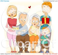 Clipart Happy Family Presenting Their Grandparents With Gifts