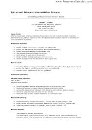 Resume Examples For Administrative Assistant Entry Level Objective As
