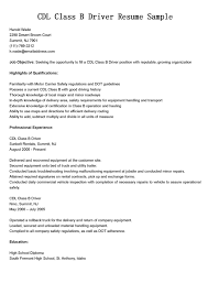 Driver Resumes Cdl Class B Resume Sample Commercial Truck