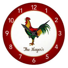 Red Country Rooster Kitchen Wall Clock