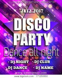 Disco Party Poster Background Template Festival Vector Mockup DJ Design