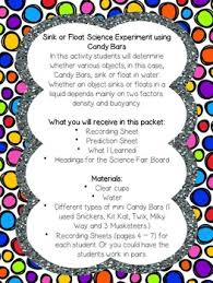 Materials Sink Or Float by Sink Or Float Candy Bar Experiment By Pride And Joy In Primary Tpt
