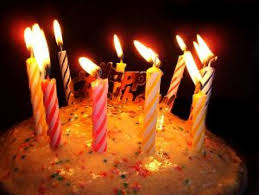 Birthday cake with candles on fire Free