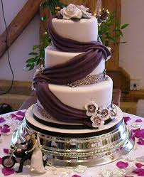 Purple Black And White Wedding Cake