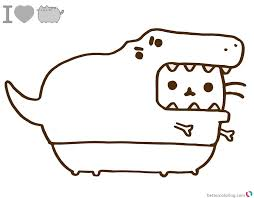 Pusheen Coloring Pages Dinosaur Cosplay
