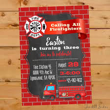 Firefighter Invitation Templates Fresh Fire Truck Birthday Regarding ...