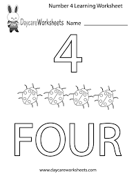 This Free Printable Worksheet Helps Preschoolers Learn The Number Four By Coloring In