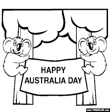Free Australia Day Coloring Pages Color In This Picture Of Happy And Others With Our Library Online Save Them Send