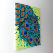 Original Painting PEACOCK FEATHERS Acrylic Canvas Home Decor Wall Art I Have To Do This