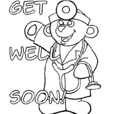 Teddy Doctor Boy In Bed Coloring Pages