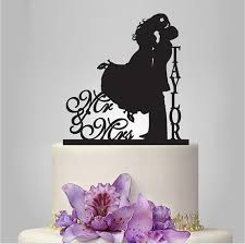 Custom Last Name Mr Mrs Kiss Cake Design Rustic Toppers For Wedding Party Decoration