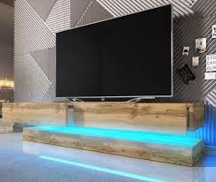 tv lowboard bird in wotan eiche dekor 2 teilig 140 x 45 cm hängend mit beleuchtung
