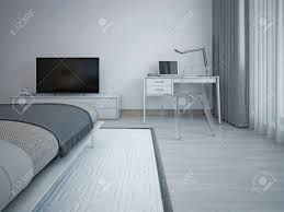 schlafzimmer interieur im minimalistischen stil graue wände laminatboden exquisite bett und tv tisch vom boden bis zur decke reichenden fenster