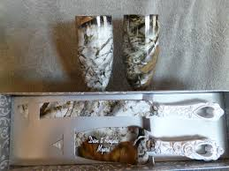 Camo Wedding Champagne Glasses And Serving Set For Rustic