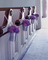 Purple Flowers Galvanized Pail Church Decor