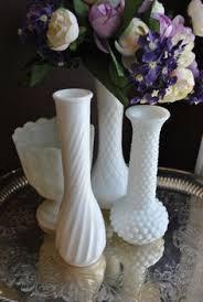 MILK GLASS Set Of 4 Vintage Flower Vases Lovely