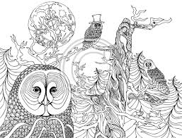 The Night Owls Coloring Pages Colouring Adult Detailed Advanced Printable Kleuren Voor Volwassenen Coloriage Pour Adulte