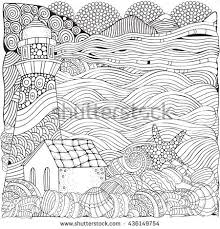 Coloring Book Page For Adult Waves Sea