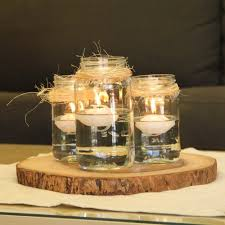 Rustic Mason Jar Centerpiece With Floating Candles