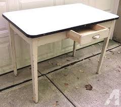 Vintage 1930s Enamel Top Hoosier Kitchen Table Wht W Blk Trim For