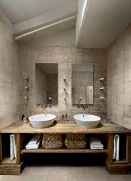 Rustic Bathroom Vanity With Modern Cabinets And Shelves Contemporary Beige Wall