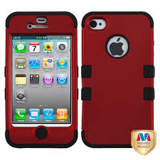 Red Titanium LOOK on Black 2 in 1 Tuff Hybrid Case Cover for