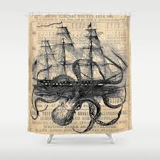 Octopus Kraken ing Ship Antique Almanac Paper Shower Curtain