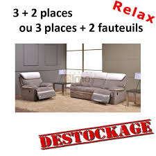canapé 3 2 places tissu destockage ensemble canap relax contemporain cuir et of canape 3