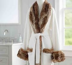 Faux Fur Robe Without Hood Ivory Caramel