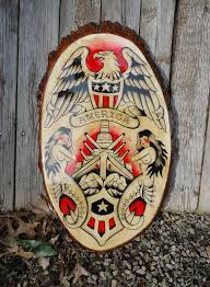 Items Similar To Vintage Style Original Traditional American Hand Painted Military Tattoo Flash Wood Plaque On Etsy