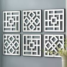 Wall Art Design Mirrored Square Six Pieces Contemporary Pattern Designs Dreaded Grey